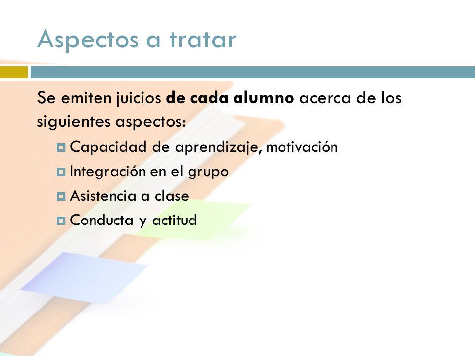 Aspectos a tratar Se emiten juicios de cada alumno acerca de los siguientes aspectos: Capacidad de aprendizaje, motivación.