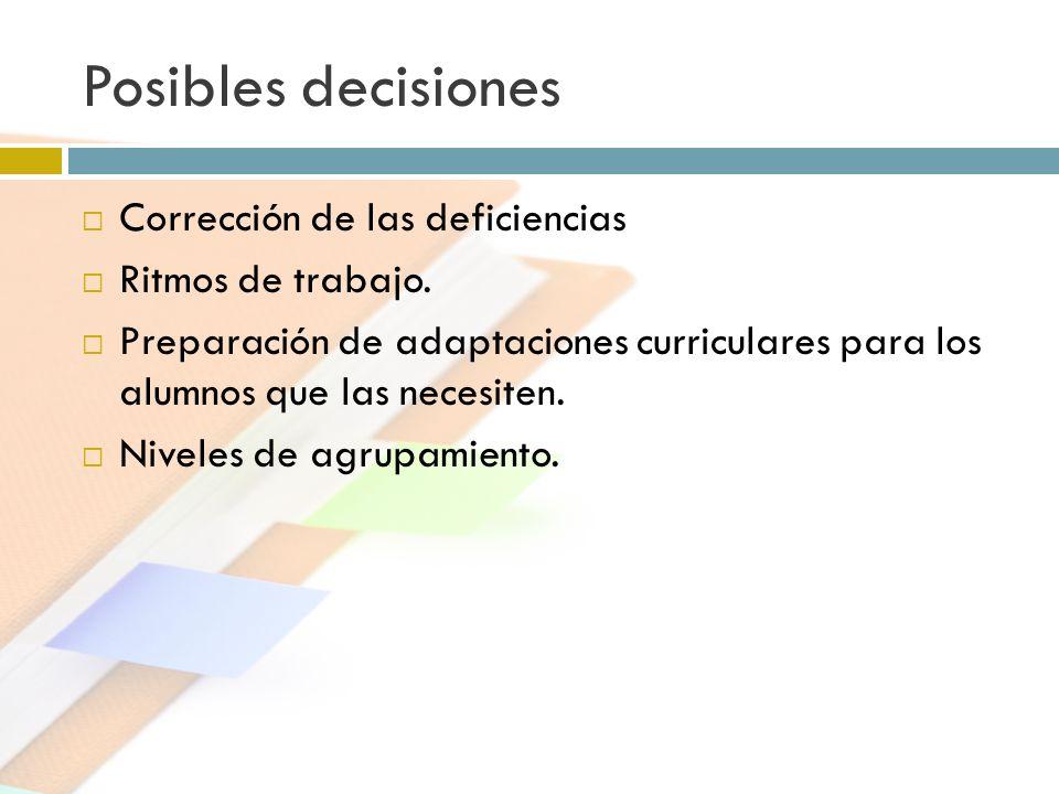 Posibles decisiones Corrección de las deficiencias Ritmos de trabajo.