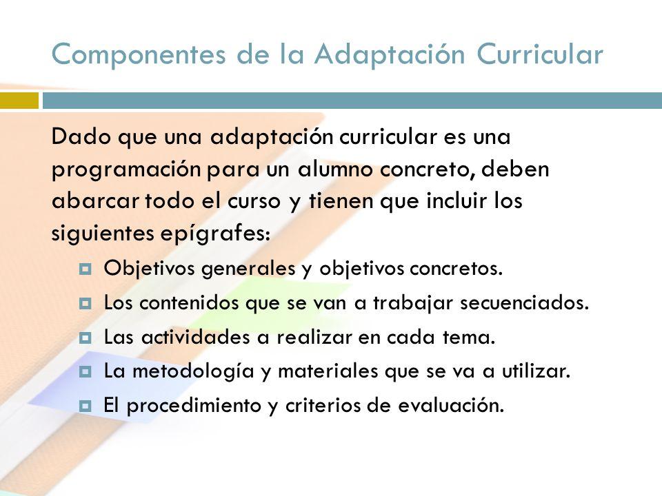 Componentes de la Adaptación Curricular