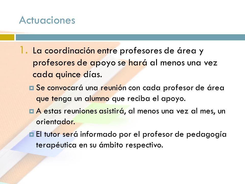 Actuaciones La coordinación entre profesores de área y profesores de apoyo se hará al menos una vez cada quince días.