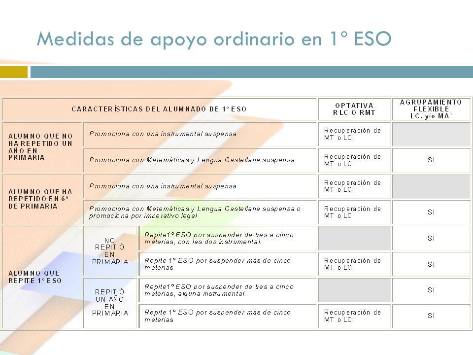 Medidas de apoyo ordinario en 1º ESO