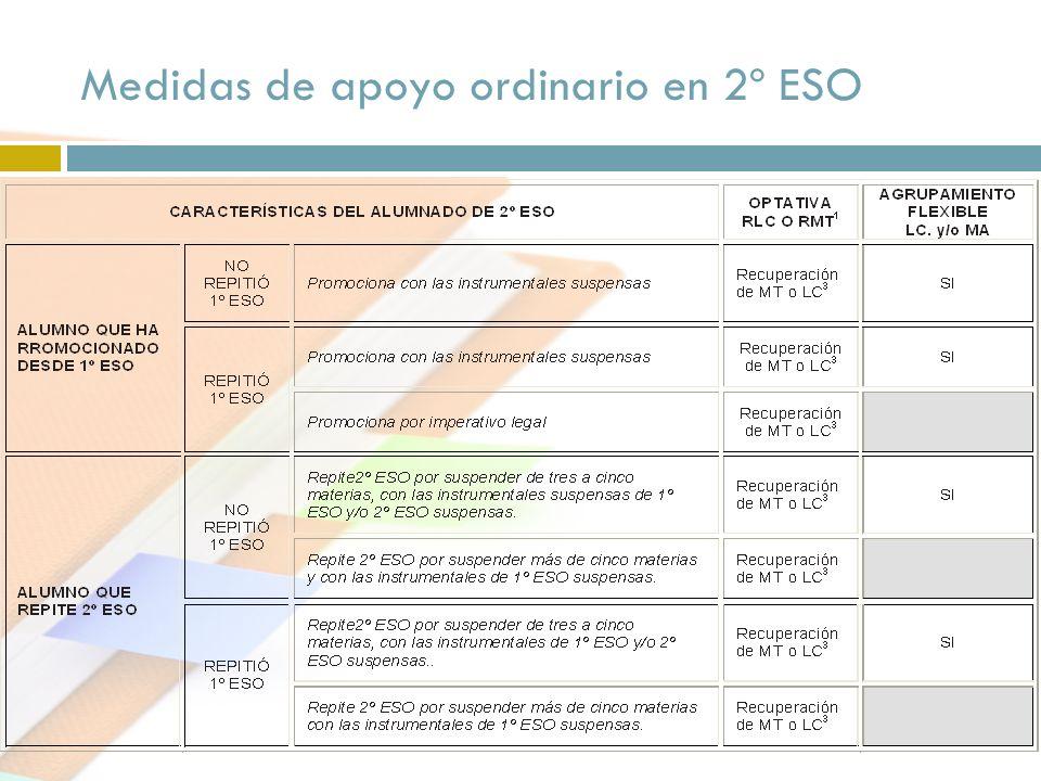 Medidas de apoyo ordinario en 2º ESO