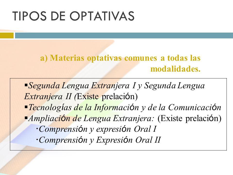 TIPOS DE OPTATIVAS a) Materias optativas comunes a todas las modalidades.