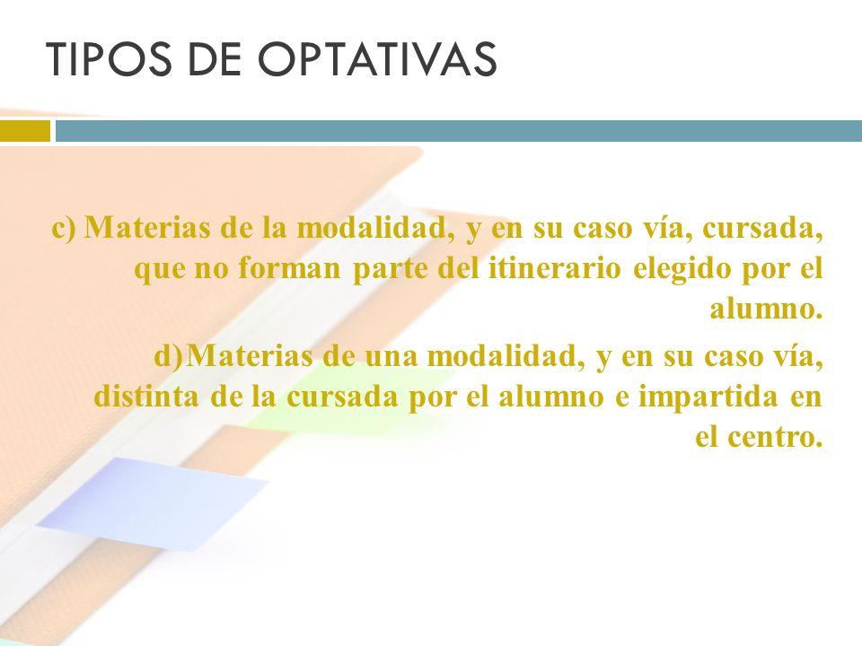 TIPOS DE OPTATIVAS c) Materias de la modalidad, y en su caso vía, cursada, que no forman parte del itinerario elegido por el alumno.