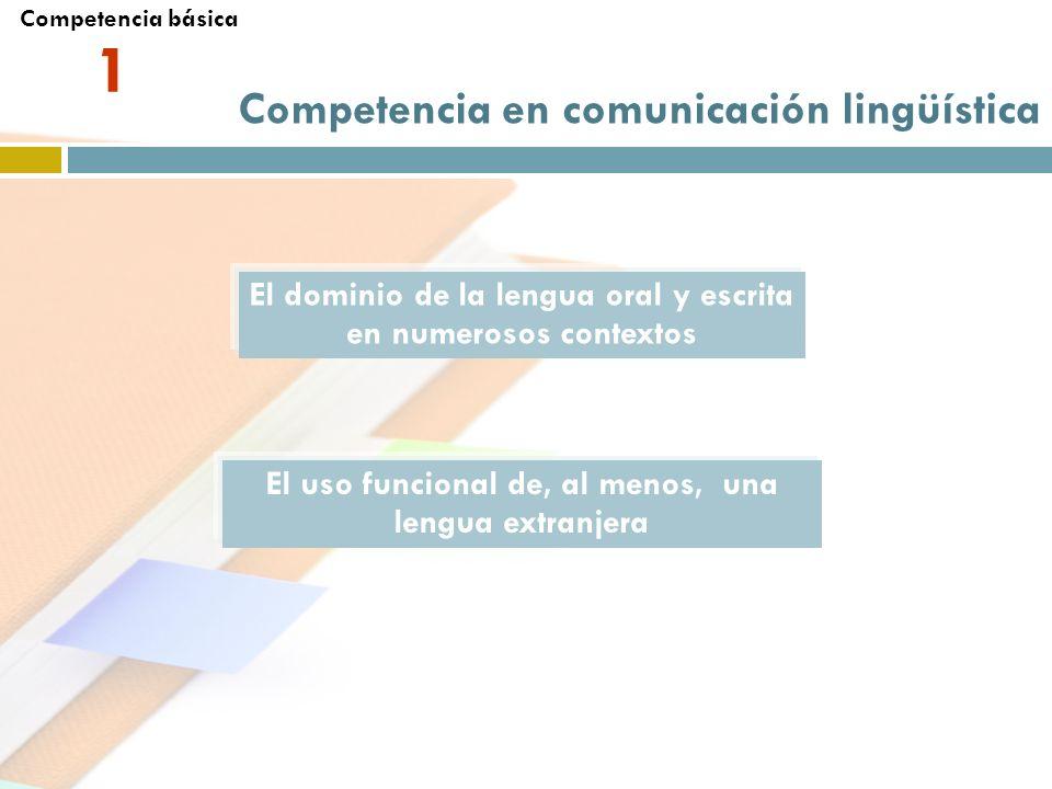 1 El dominio de la lengua oral y escrita en numerosos contextos