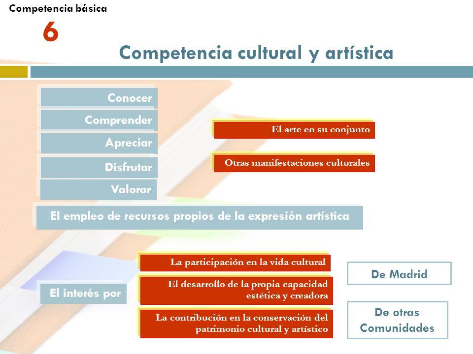 6 Competencia cultural y artística Conocer Comprender Apreciar