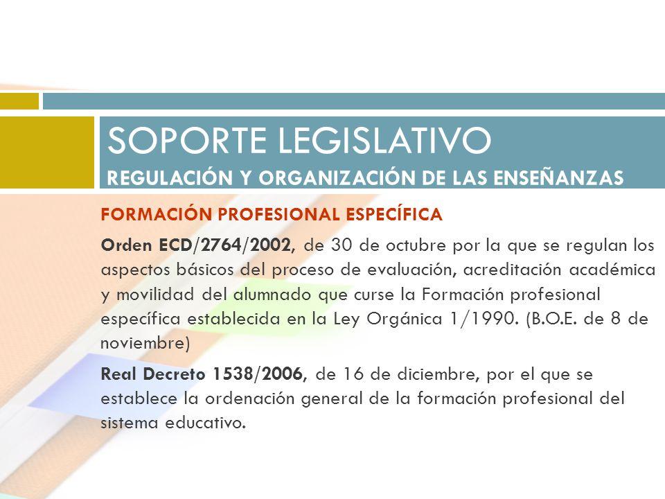 SOPORTE LEGISLATIVO REGULACIÓN Y ORGANIZACIÓN DE LAS ENSEÑANZAS