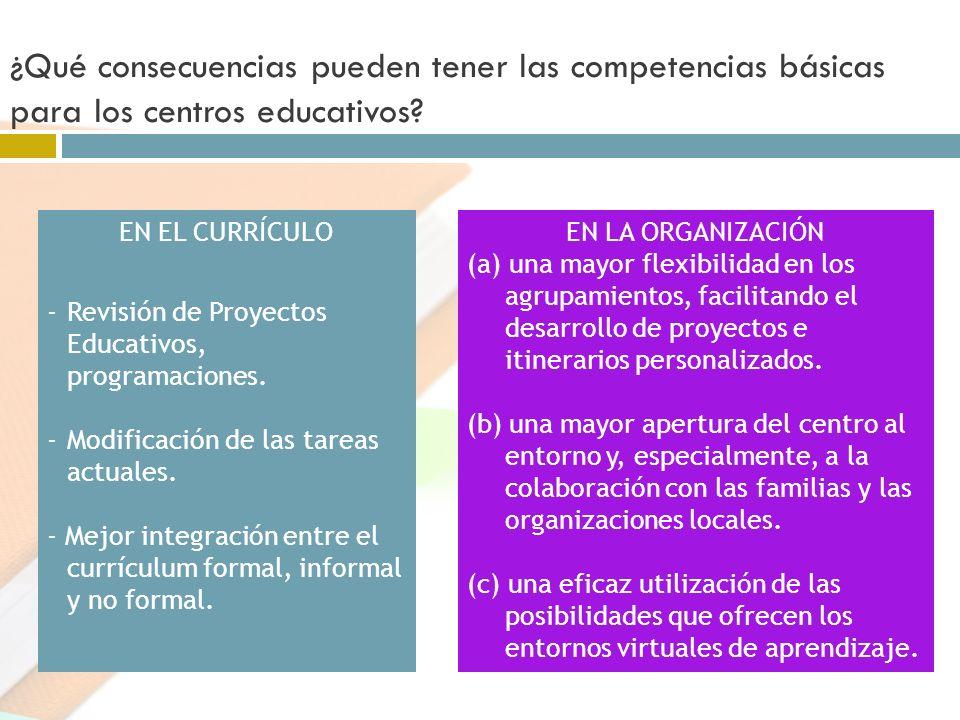 ¿Qué consecuencias pueden tener las competencias básicas para los centros educativos