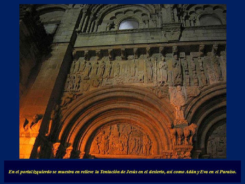 En el portal izquierdo se muestra en relieve la Tentación de Jesús en el desierto, así como Adán y Eva en el Paraíso.