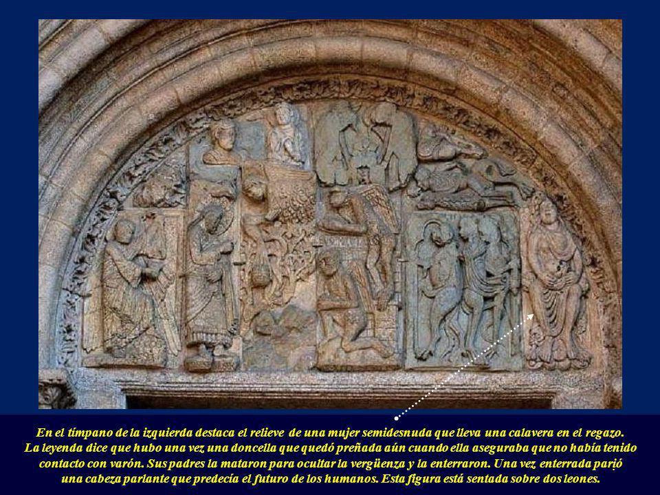 En el tímpano de la izquierda destaca el relieve de una mujer semidesnuda que lleva una calavera en el regazo.