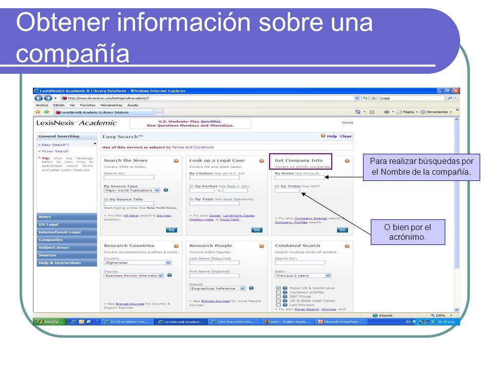 Obtener información sobre una compañía