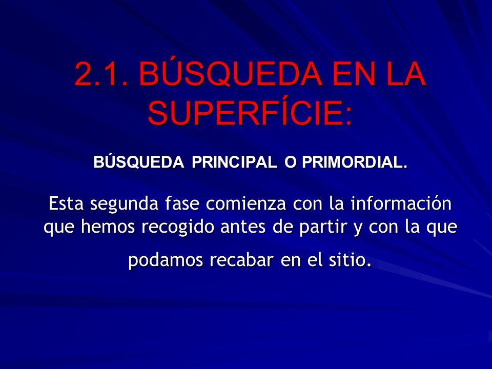 2. 1. BÚSQUEDA EN LA SUPERFÍCIE: BÚSQUEDA PRINCIPAL O PRIMORDIAL