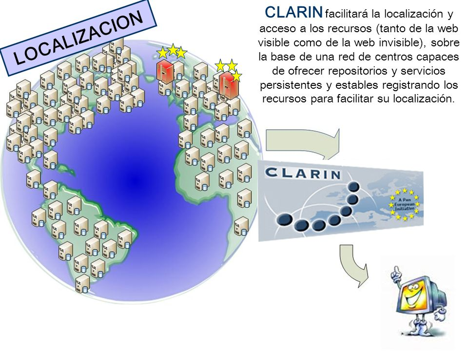 CLARIN facilitará la localización y acceso a los recursos (tanto de la web visible como de la web invisible), sobre la base de una red de centros capaces de ofrecer repositorios y servicios persistentes y estables registrando los recursos para facilitar su localización.