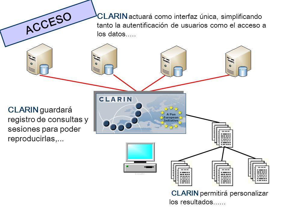 CLARIN actuará como interfaz única, simplificando tanto la autentificación de usuarios como el acceso a los datos.....