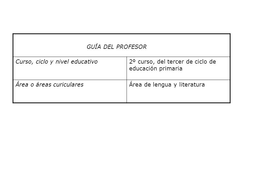 GUÍA DEL PROFESOR Curso, ciclo y nivel educativo. 2º curso, del tercer de ciclo de educación primaria.