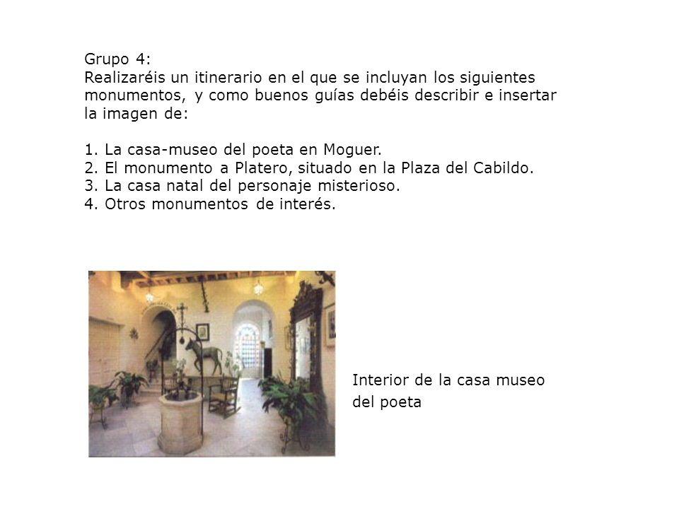 Grupo 4: Realizaréis un itinerario en el que se incluyan los siguientes. monumentos, y como buenos guías debéis describir e insertar.