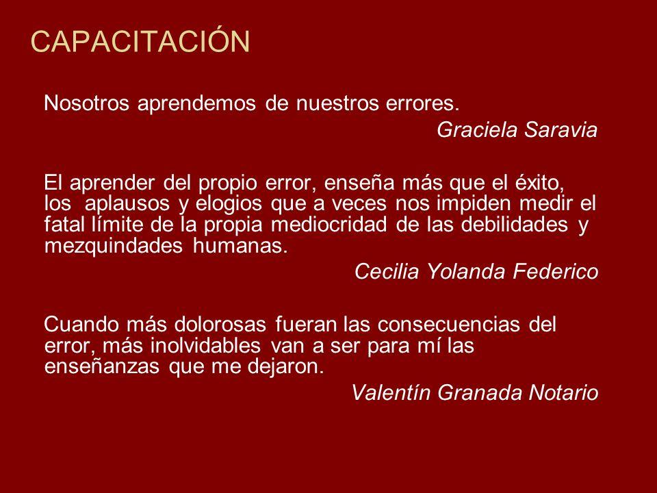 CAPACITACIÓN Nosotros aprendemos de nuestros errores. Graciela Saravia