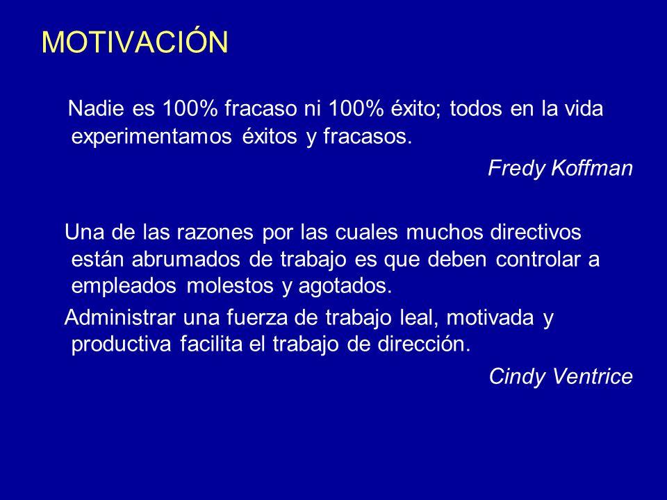 MOTIVACIÓN Nadie es 100% fracaso ni 100% éxito; todos en la vida experimentamos éxitos y fracasos. Fredy Koffman.