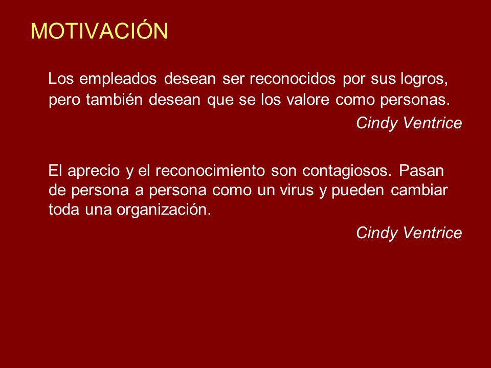 MOTIVACIÓN Los empleados desean ser reconocidos por sus logros, pero también desean que se los valore como personas.