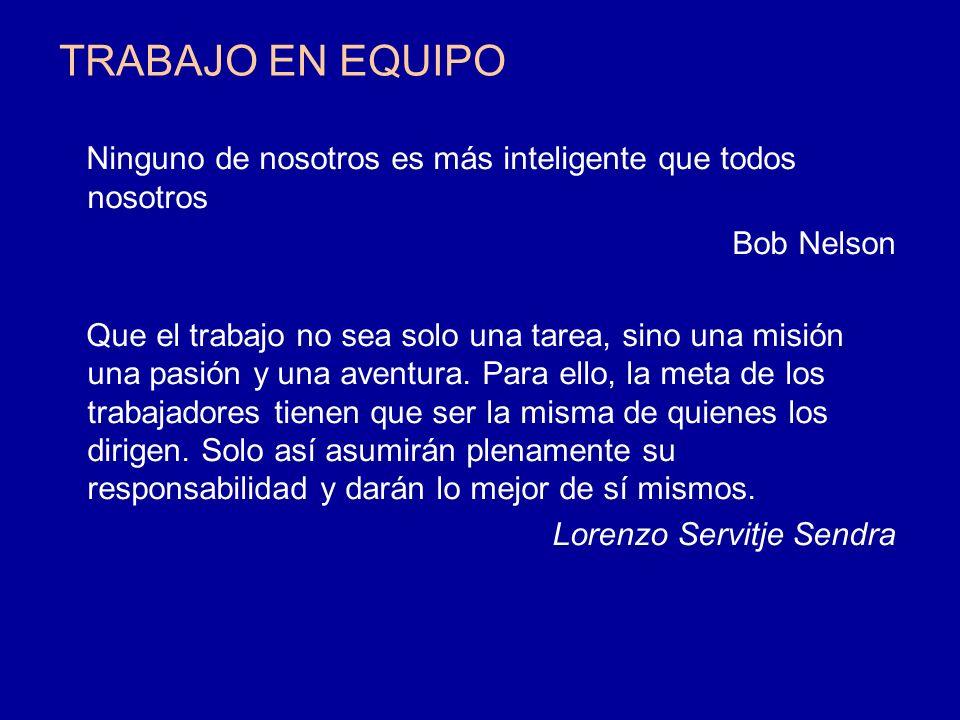 TRABAJO EN EQUIPO Ninguno de nosotros es más inteligente que todos nosotros. Bob Nelson.