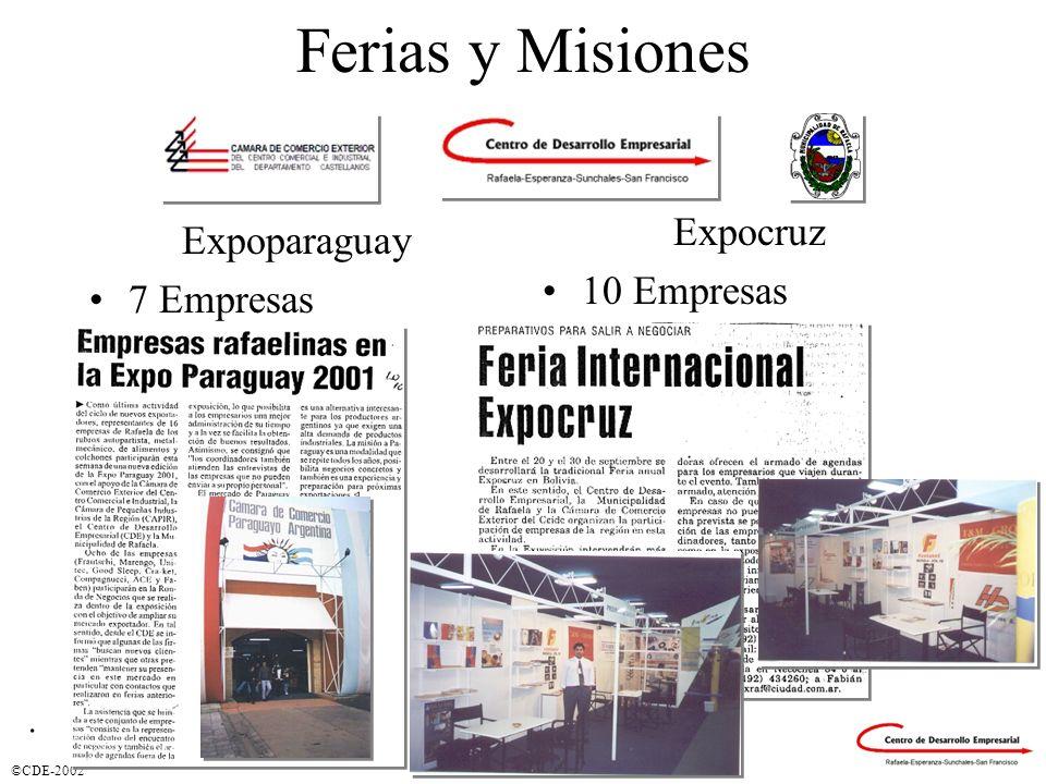 Ferias y Misiones Expocruz 10 Empresas Expoparaguay 7 Empresas .
