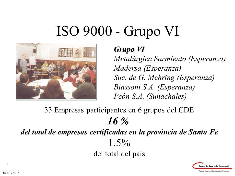 ISO 9000 - Grupo VI 16 % 1.5% Grupo VI