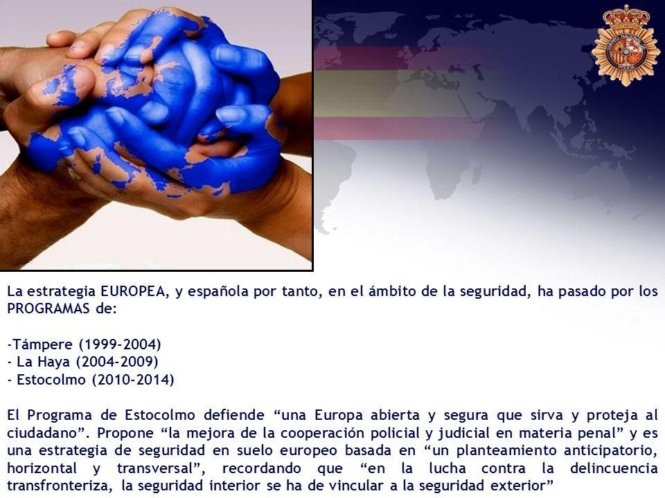 La estrategia EUROPEA, y española por tanto, en el ámbito de la seguridad, ha pasado por los PROGRAMAS de: