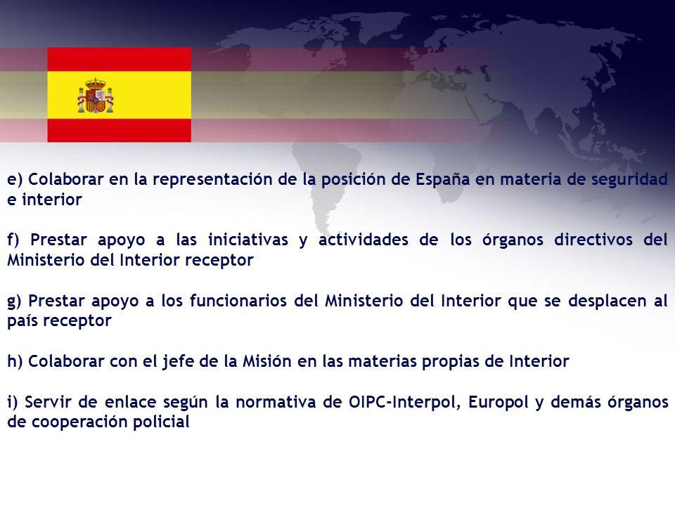 e) Colaborar en la representación de la posición de España en materia de seguridad e interior