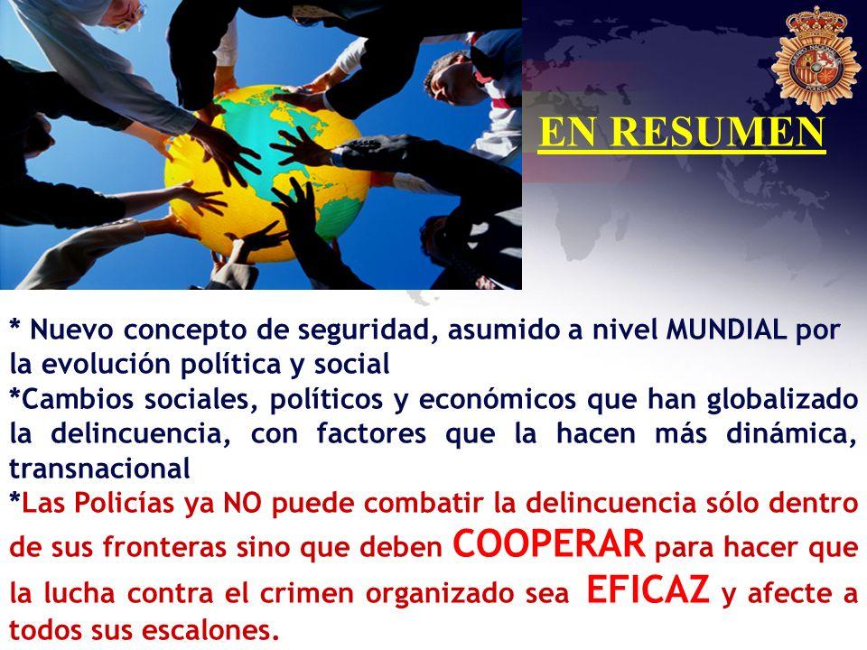 EN RESUMEN * Nuevo concepto de seguridad, asumido a nivel MUNDIAL por la evolución política y social.