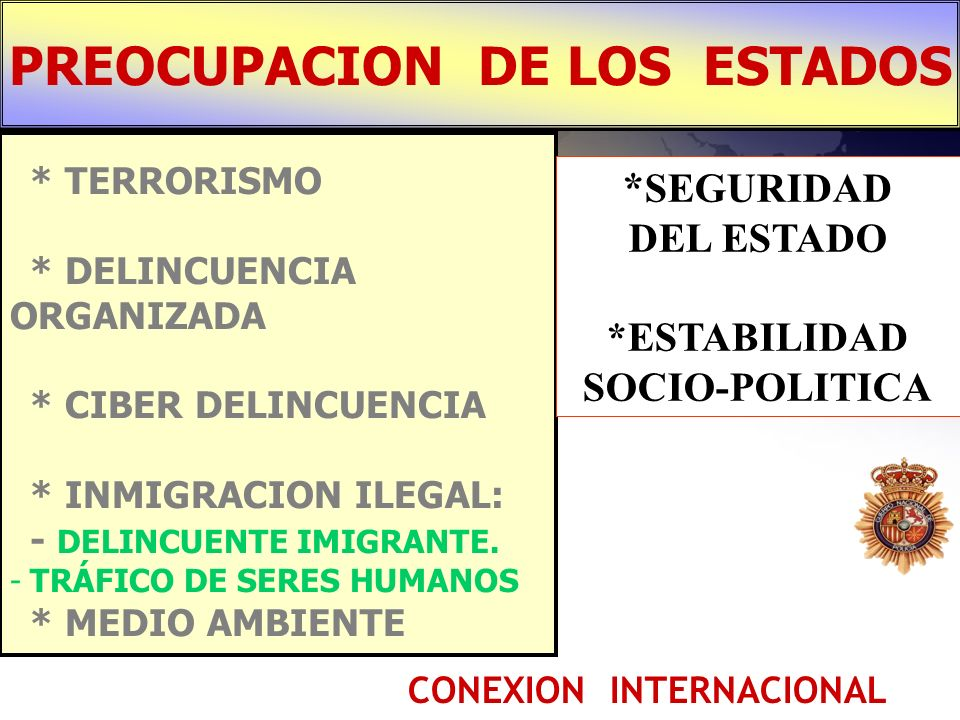 PREOCUPACION DE LOS ESTADOS CONEXION INTERNACIONAL