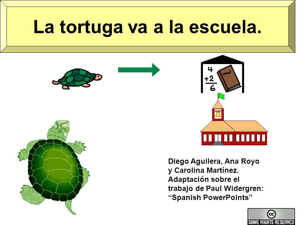 La tortuga va a la escuela.