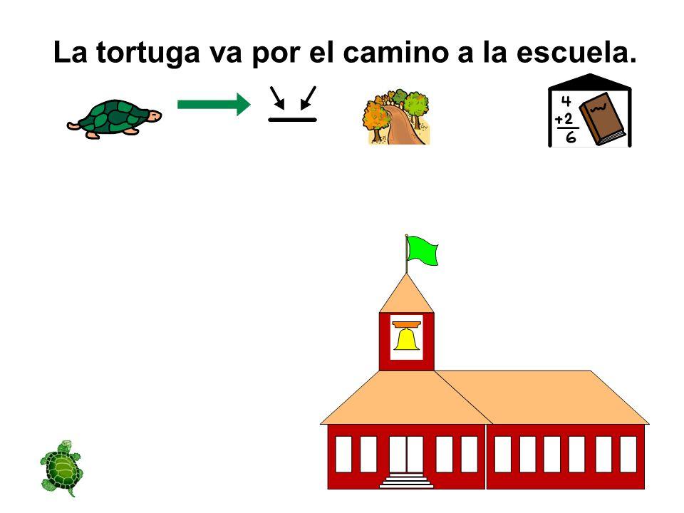 La tortuga va por el camino a la escuela.