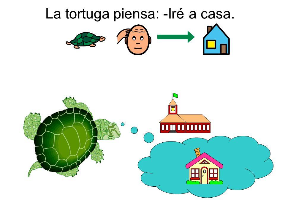La tortuga piensa: -Iré a casa.