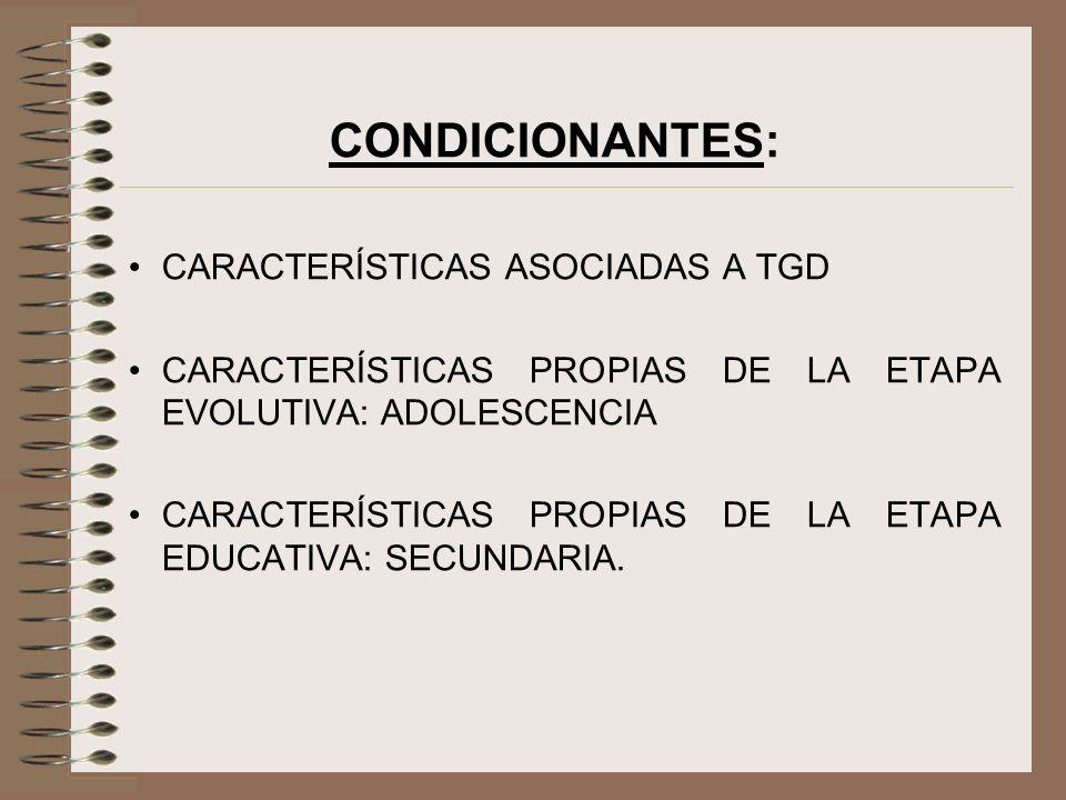 CONDICIONANTES: CARACTERÍSTICAS ASOCIADAS A TGD