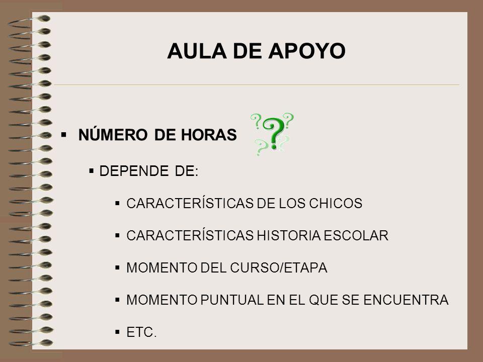 AULA DE APOYO NÚMERO DE HORAS DEPENDE DE: