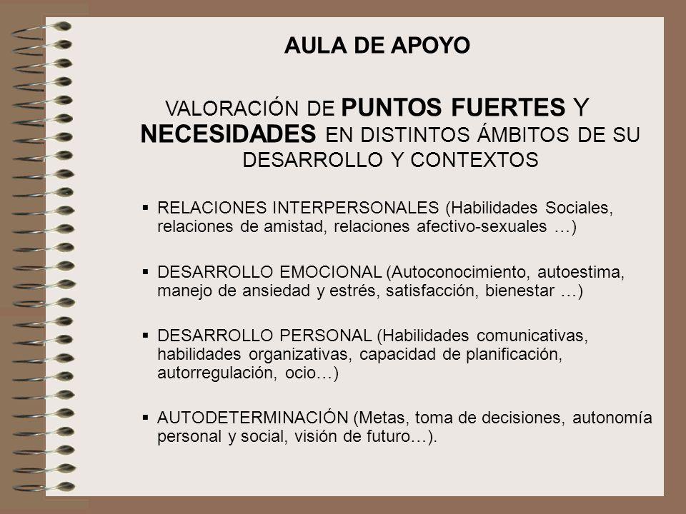 AULA DE APOYO VALORACIÓN DE PUNTOS FUERTES Y NECESIDADES EN DISTINTOS ÁMBITOS DE SU DESARROLLO Y CONTEXTOS.