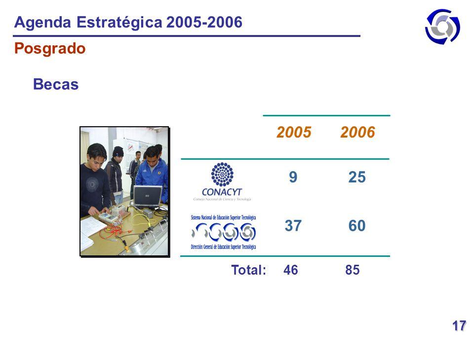 Agenda Estratégica 2005-2006 Posgrado Becas 60 37 25 9 2006 2005