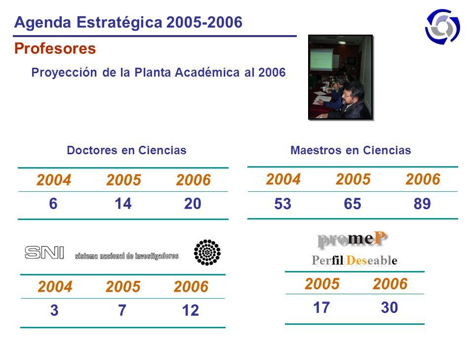 Agenda Estratégica 2005-2006 Profesores 20 14 6 2006 2005 2004 89 65