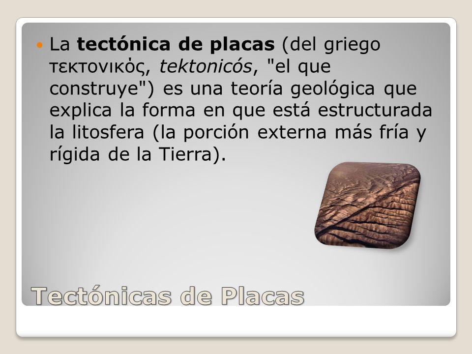 La tectónica de placas (del griego τεκτονικός, tektonicós, el que construye ) es una teoría geológica que explica la forma en que está estructurada la litosfera (la porción externa más fría y rígida de la Tierra).