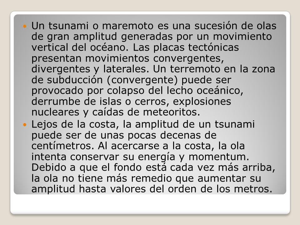 Un tsunami o maremoto es una sucesión de olas de gran amplitud generadas por un movimiento vertical del océano. Las placas tectónicas presentan movimientos convergentes, divergentes y laterales. Un terremoto en la zona de subducción (convergente) puede ser provocado por colapso del lecho oceánico, derrumbe de islas o cerros, explosiones nucleares y caídas de meteoritos.