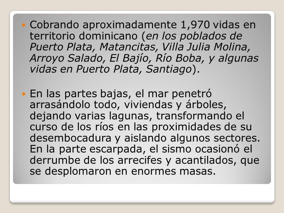 Cobrando aproximadamente 1,970 vidas en territorio dominicano (en los poblados de Puerto Plata, Matancitas, Villa Julia Molina, Arroyo Salado, El Bajío, Río Boba, y algunas vidas en Puerto Plata, Santiago).