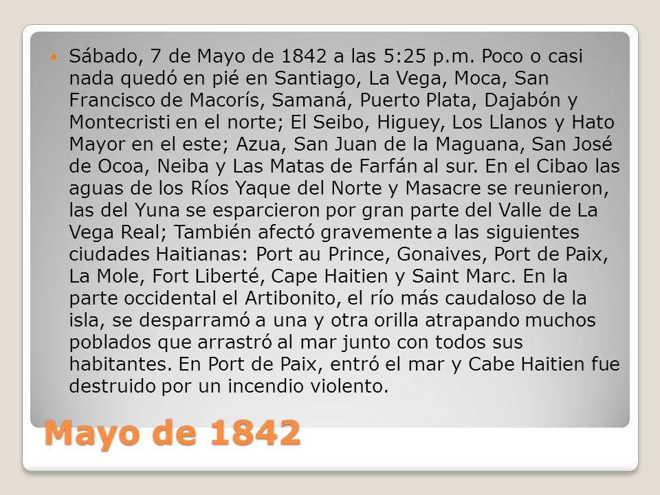 Sábado, 7 de Mayo de 1842 a las 5:25 p. m