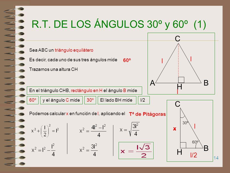 R.T. DE LOS ÁNGULOS 30º y 60º (1) C A B H B C H l l l l x l/2 60º