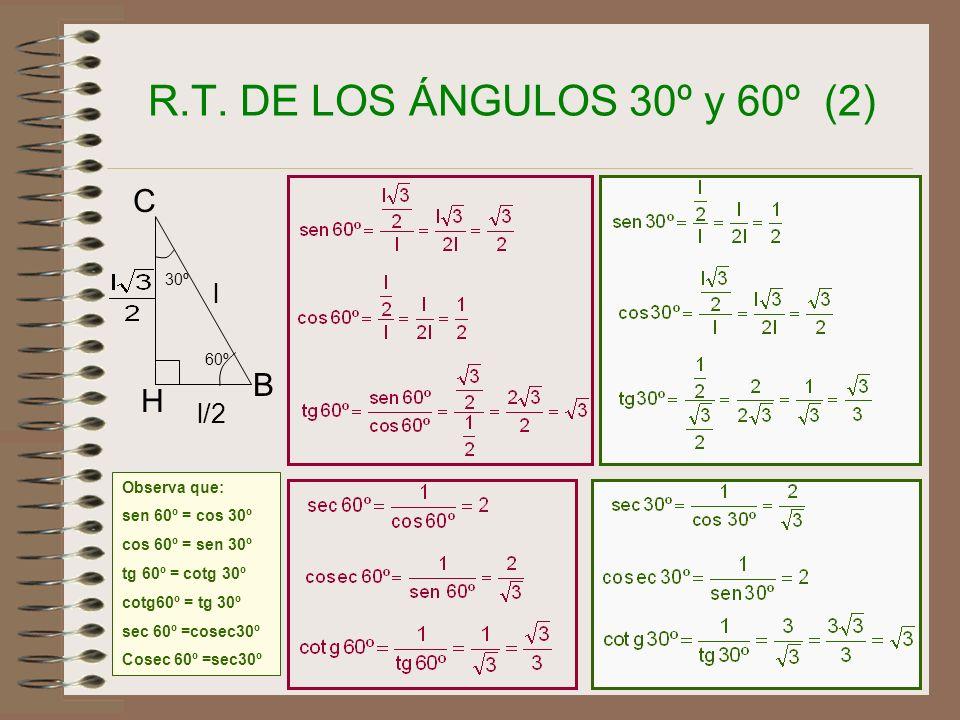 R.T. DE LOS ÁNGULOS 30º y 60º (2) C B H l l/2 30º 60º Observa que: