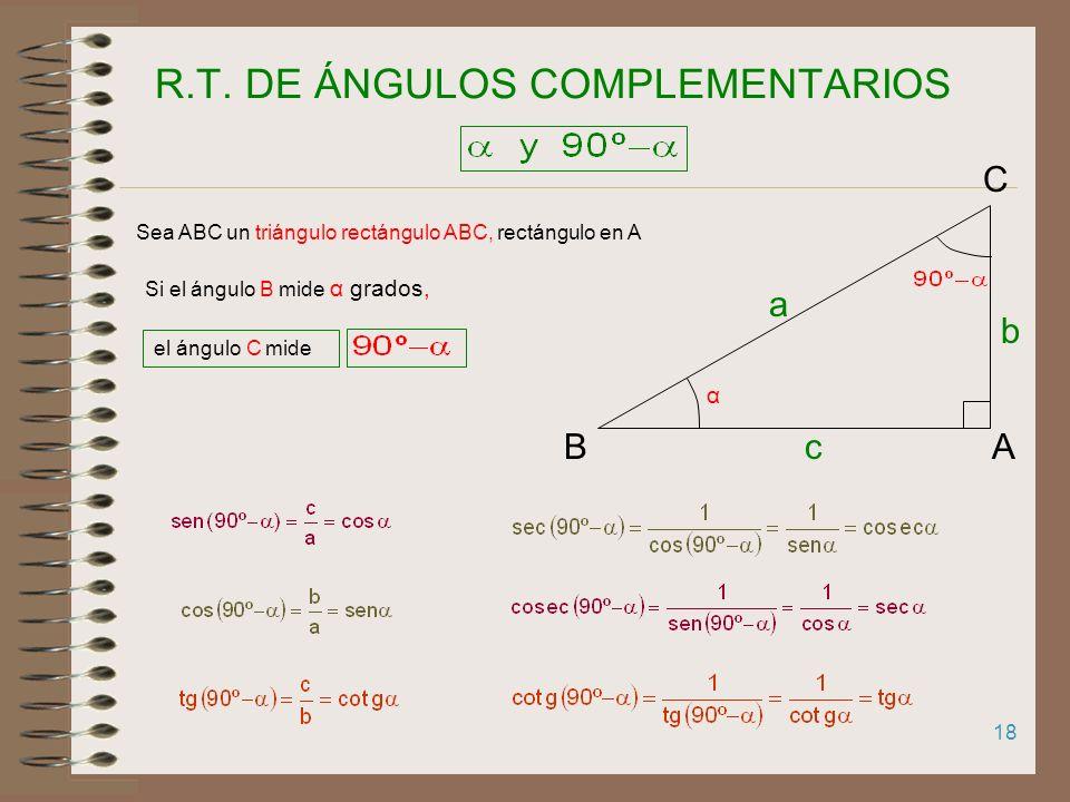 R.T. DE ÁNGULOS COMPLEMENTARIOS