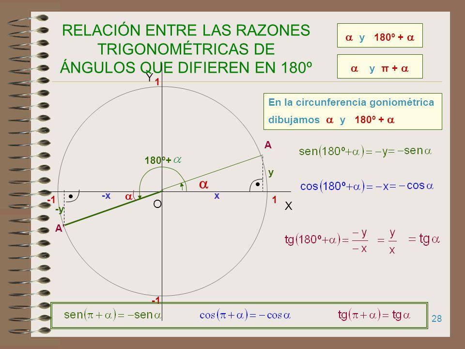 RELACIÓN ENTRE LAS RAZONES TRIGONOMÉTRICAS DE ÁNGULOS QUE DIFIEREN EN 180º