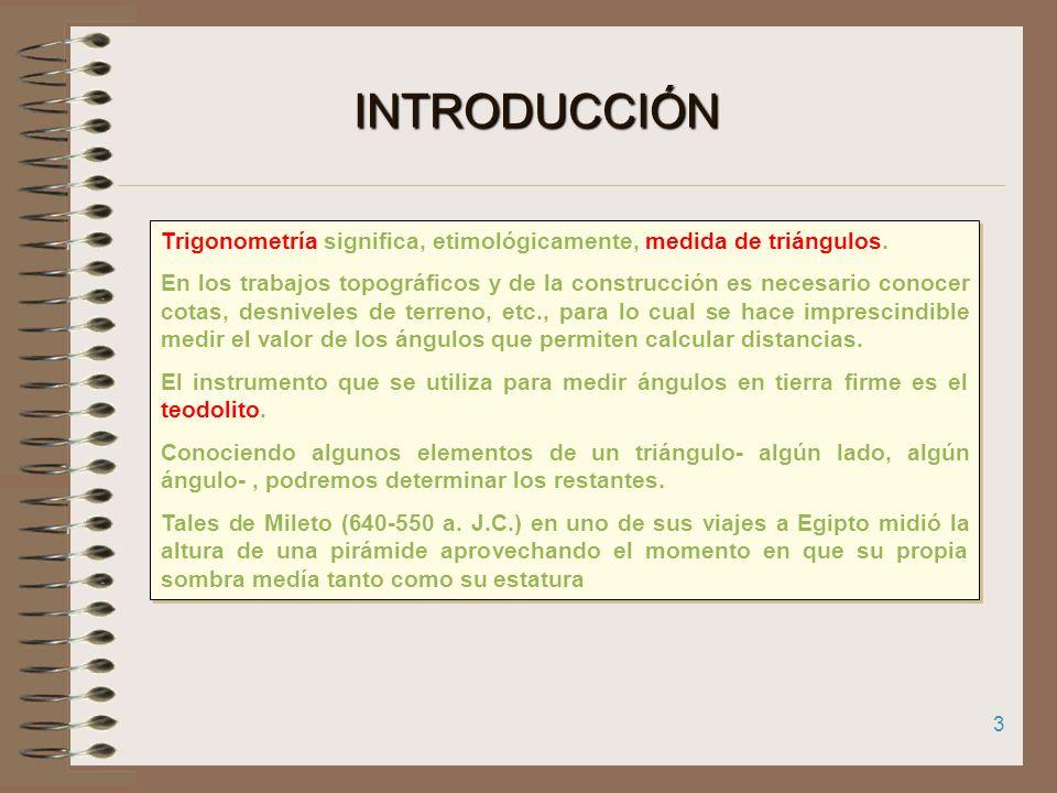 INTRODUCCIÓN Trigonometría significa, etimológicamente, medida de triángulos.