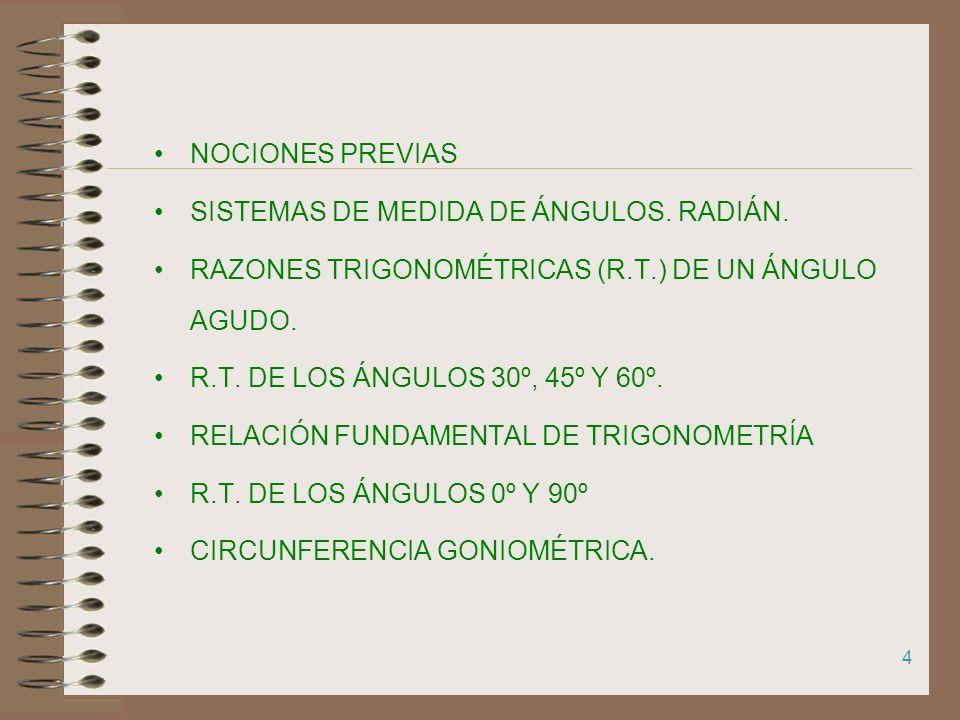 NOCIONES PREVIAS SISTEMAS DE MEDIDA DE ÁNGULOS. RADIÁN. RAZONES TRIGONOMÉTRICAS (R.T.) DE UN ÁNGULO AGUDO.