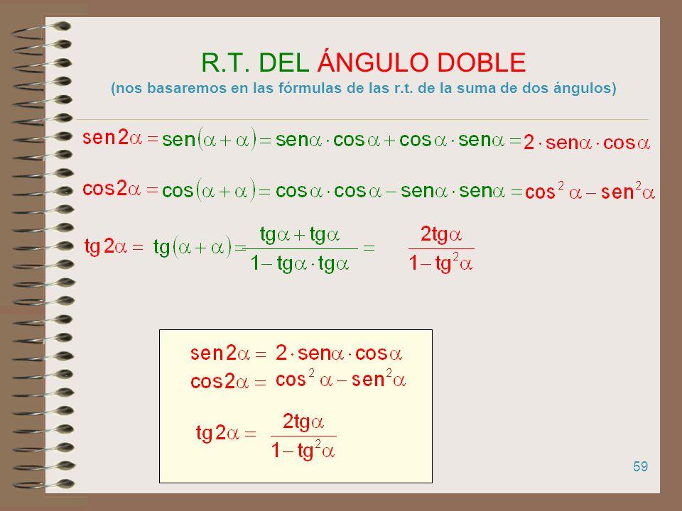 R. T. DEL ÁNGULO DOBLE (nos basaremos en las fórmulas de las r. t