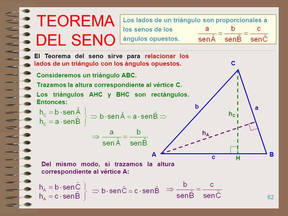 TEOREMA DEL SENO Los lados de un triángulo son proporcionales a